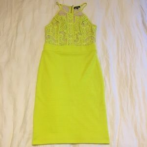 Neon bodycon dress with lacy detail